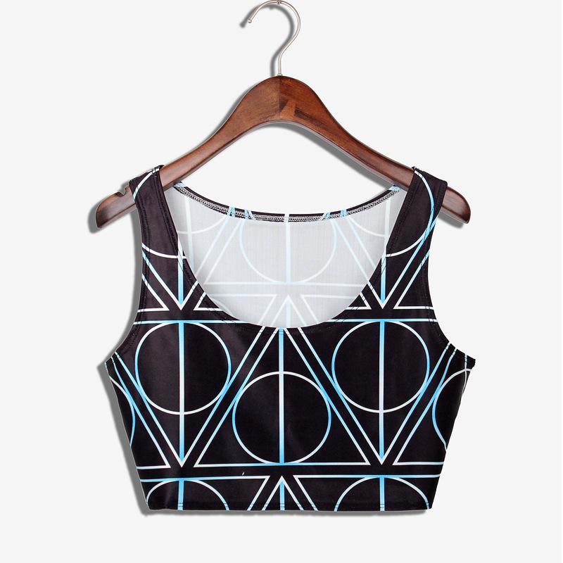 2015 New Summer Fashion women Cartoon Tank tops personality Sexy crop tops Geometry women clothing Female vest free shipping(China (Mainland))