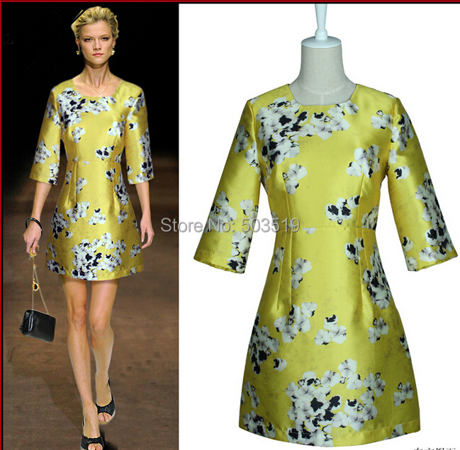 New fashion 2014 autumn and winter dress,high-end set half-sleeve above knee copy satin printed dresses(China (Mainland))