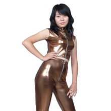 Buy Whole Set Sexy Women Shiny Brown Wetlook Clubwear Costume Sexy Latex Clothing Erotic Faux Leather Lingerie Nightclub Leotard