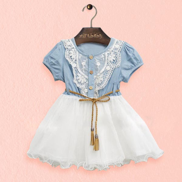 Toddler Baby Girls One piece Dress  Jeans Lace Gauze w/Belt Clothes(China (Mainland))