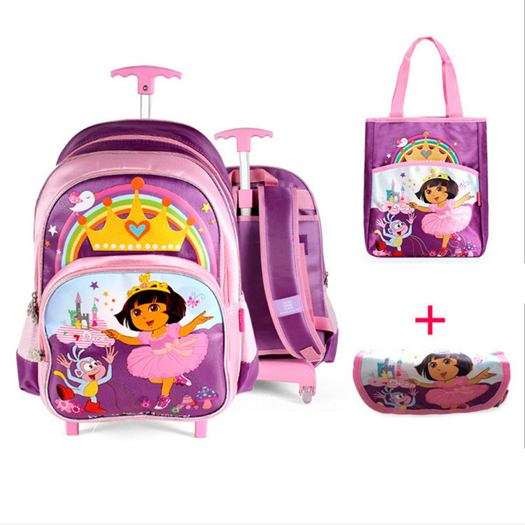 Newest 2015 Lovely School Rolling Trolley Bags Children Backpack with Handbag and Pencil Case Girls Dora Bags on Wheels Luggage(China (Mainland))