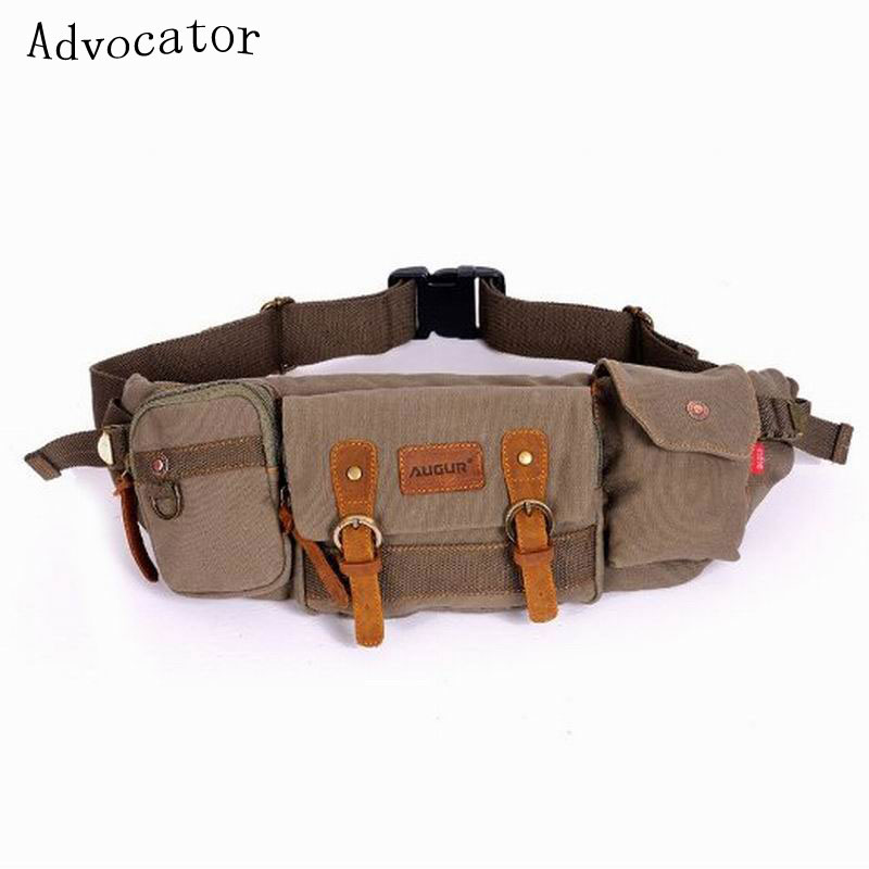 2016 Canvas Bag Fashion Casual Fanny Pack Retro Travel Waist Pack Small Belt Bags Outdoor Phone Pouch Sport Bag KHAKI9/COFFE(China (Mainland))