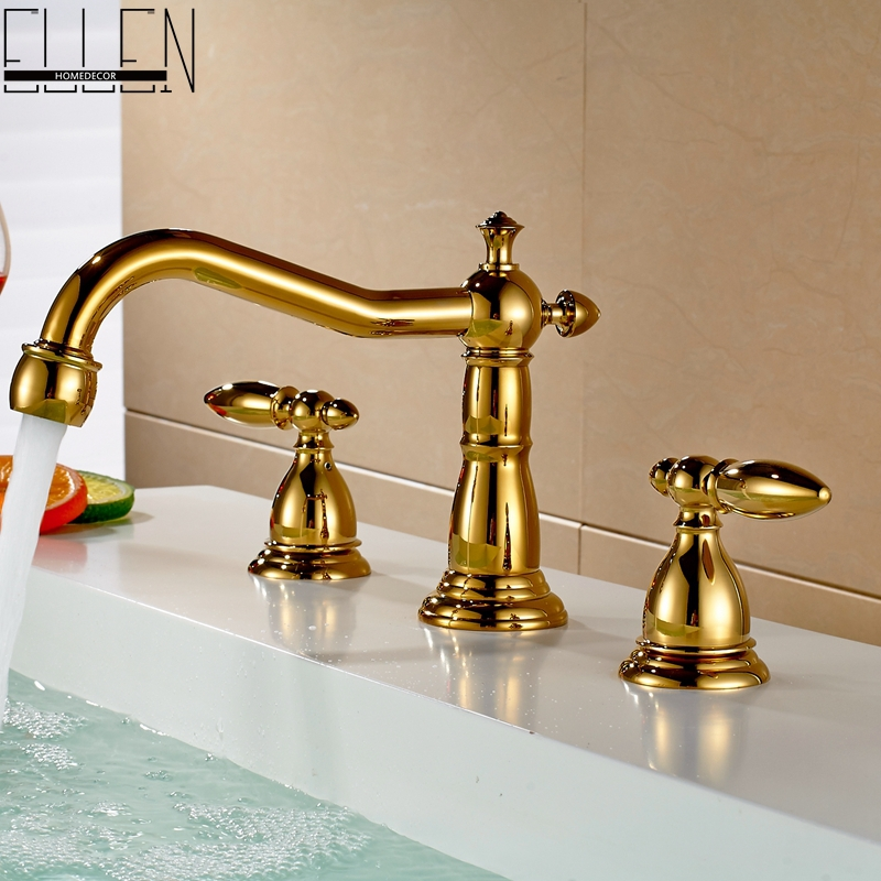 Фотография Deck mounted gold finish faucet double handle three hole washbasin faucets cold and hot water tap mixer