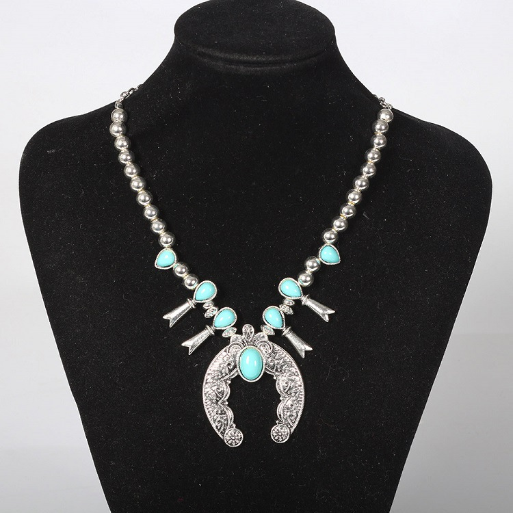 Silver Turquoise Blossom Necklace Navajo Squash Jewelry Indian Beaded Liquid Zuni Inlay Cross Large Pendant Coral Women(China (Mainland))