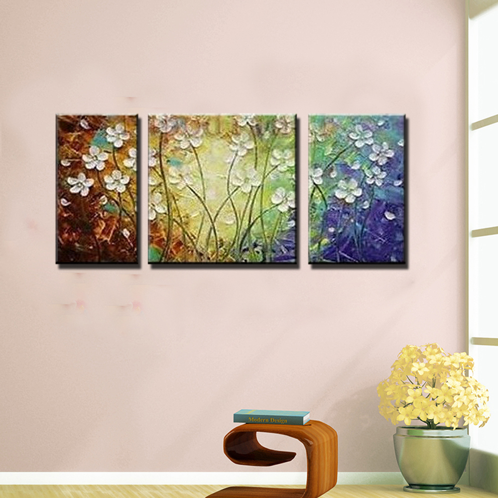 acrylic 3 piece canvas wall art colorful canvas pictures flower frameless wall decor painting. Black Bedroom Furniture Sets. Home Design Ideas