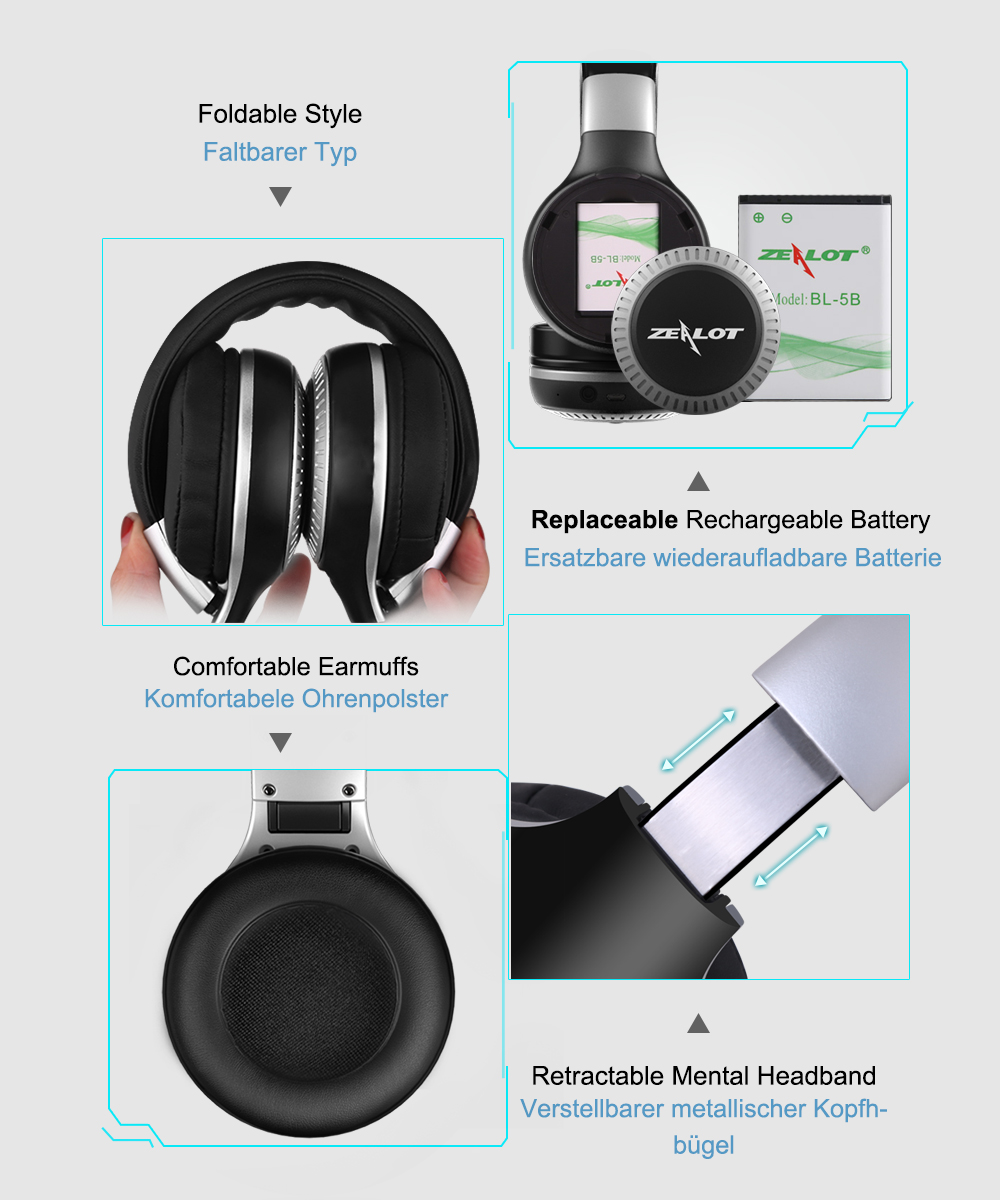 ZEALOT B20 Stereo Wireless Bluetooth 4.1 Earphone Headphones With Mic for Iphone Samsung Headphone Xiaomi Headset HTC Huawei