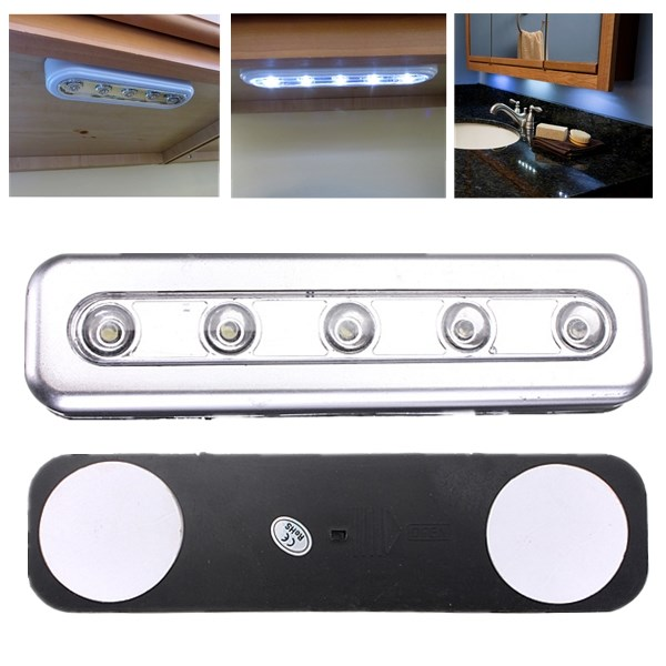 Hot Sale 5 LED Self Stick Tap Light Under Cabinet Push Touch Night Lamp Battery Powered Kitchen Closet Desk Bulb(China (Mainland))