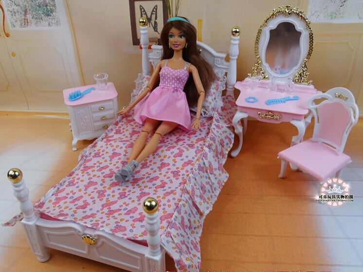 Pink Princess Bed Dresser Chair Set / Dollhouse Furniture Puzzle Baby Toy Bedroom Accessories Decoration for Barbie Kurhn Doll(China (Mainland))