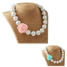 5 Stücke Rosa Aqua Mädchen Rose Blume Kaugummi Halskette Kinder Chunky Schmuck Weiße Nachgemachte Perlen Halskette Party Favor(China (Mainland))