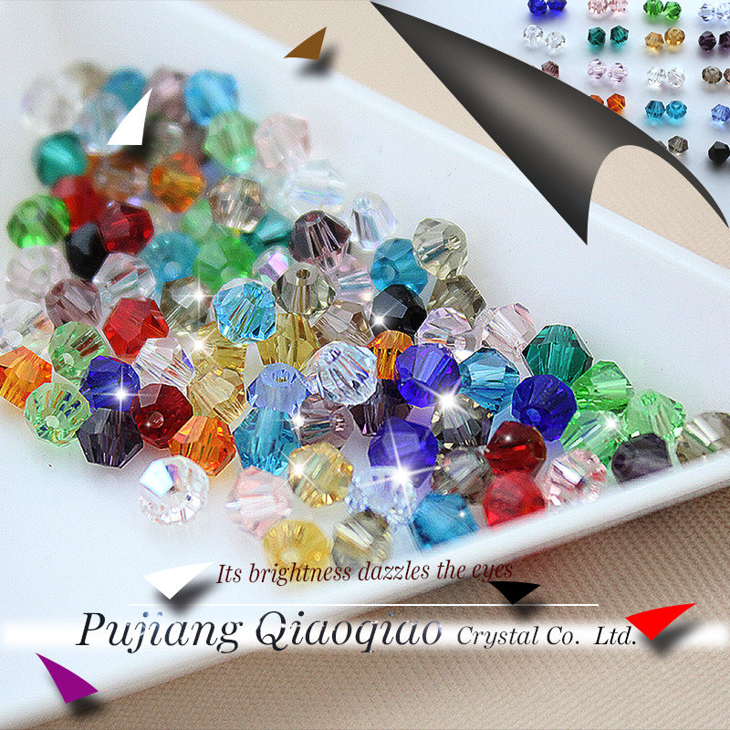 Mixed color crystal sales top quality 3mm 4mm 6mm 100pcs/pack Bicone Crystal Glass Beads loose Bead for Jewelry Making DIY(China (Mainland))
