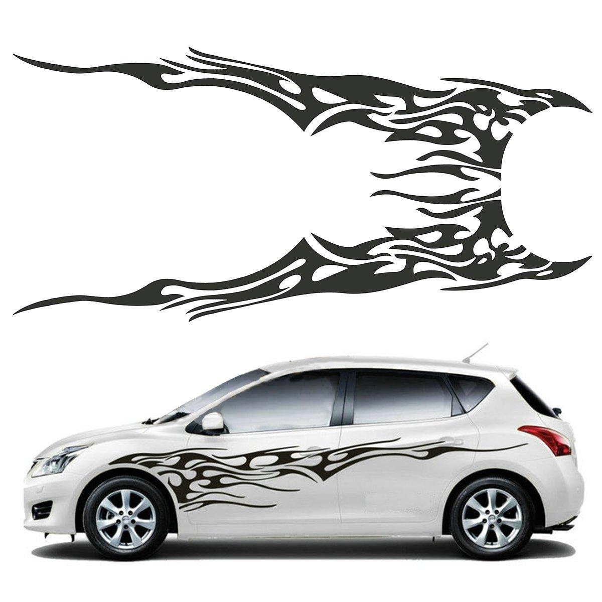 Bumper sticker creator canada - Pair 210 5 X 48cm Black Universal Car Flame Graphics Vinyl Car Side Sticker Decal Waterproof