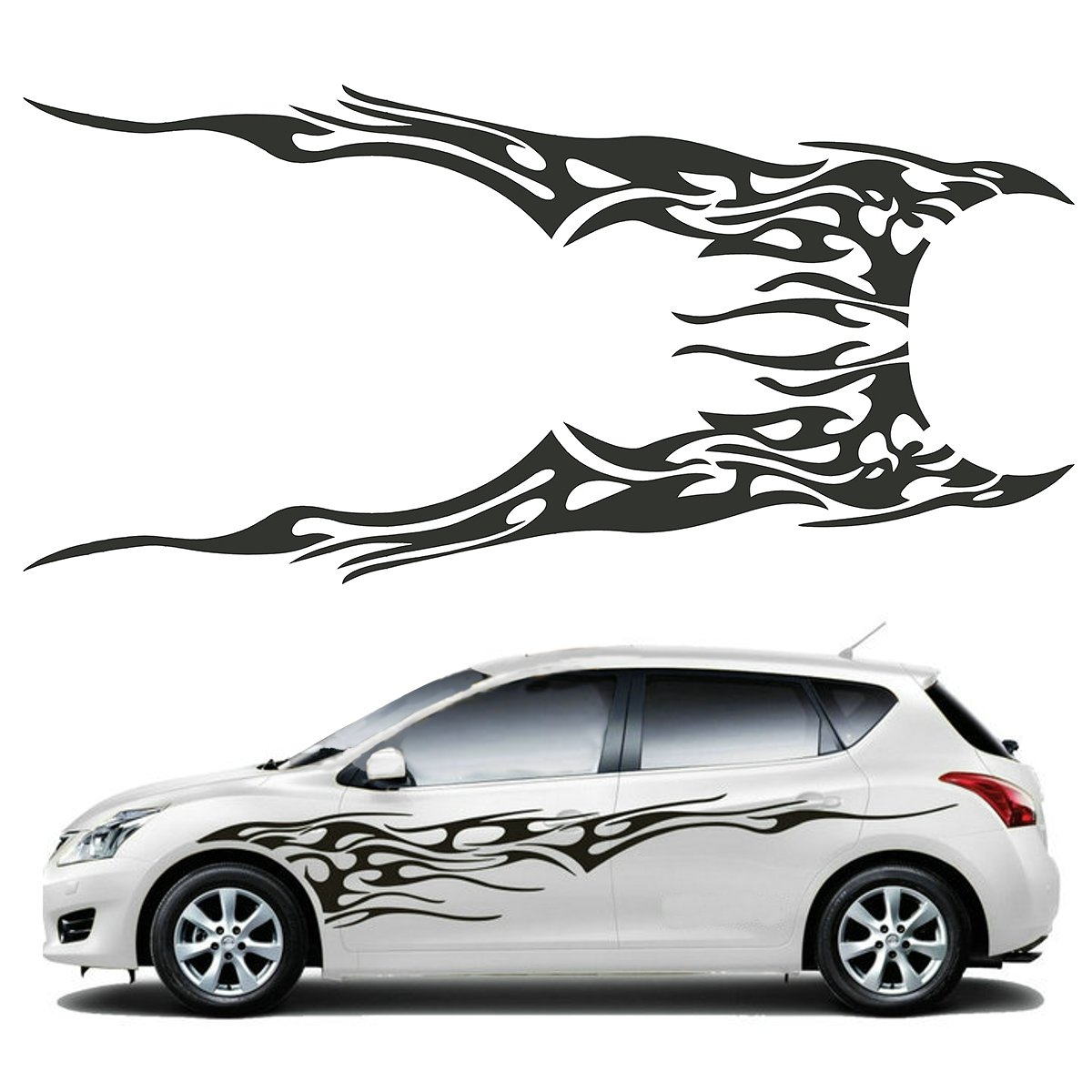 Sticker design for car online - Pair 210 5 X 48cm Black Universal Car Flame Graphics Vinyl Car Side Sticker Decal Waterproof