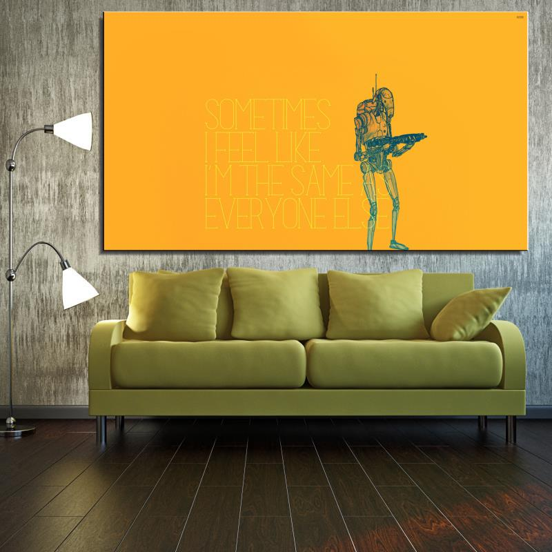Wars robot humor Star Movie Star Abstract Frameless Spray Home decor drawing Oil Painting Canvas technical art square Scarf(China (Mainland))