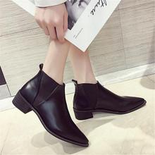 Thời trang phong cách Châu Âu Martin phong cách Người Anh 2018 mùa thu mới phong cách sinh viên Hàn Quốc phong cách màu đen hàng đầu Chelsea mắt cá chân khởi động của phụ nữ giày(China)
