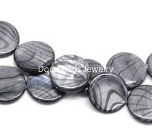 "8SEASONS Gray Zebra Print Round Shell Loose Beads 20mm, 40cm(15-3/4"") long, sold per lot of 1 strand (B17960)(China (Mainland))"