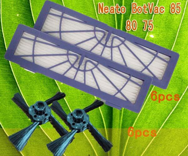 Neato BotVac Side Brush 6 pcs and BotVac HEPA filter Vacuum Cleaners Filter 6 pcs for BotVac 945-0123 Neato BotVac 75 80 85(China (Mainland))