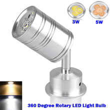 Free shipping 360 Degree Rotary LED Light Bulb Spotlight Lamp 3W 5W with Moving Head Warm White Cool white AC/DC 12V Silver(China (Mainland))