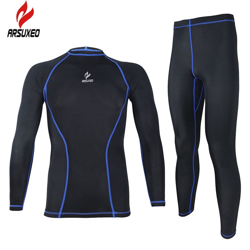 Arsuxeo compression tights base layer running Fitness cycling soccer football lycra men sports wear  shirt pant jersey suit  091