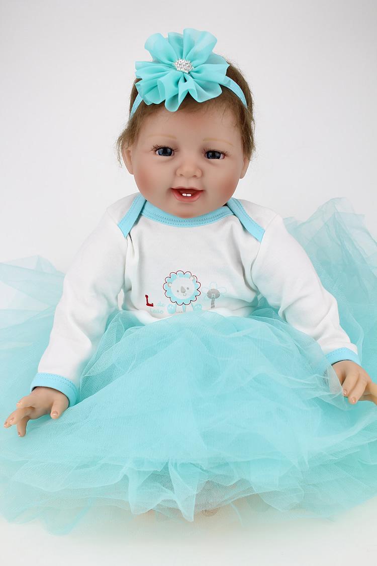22 inch silicone baby-reborn dolls Soft Vinyl reborn babies Girls Christmas Baby Toys Birthday Gifts Juguetes Bonecas  <br><br>Aliexpress