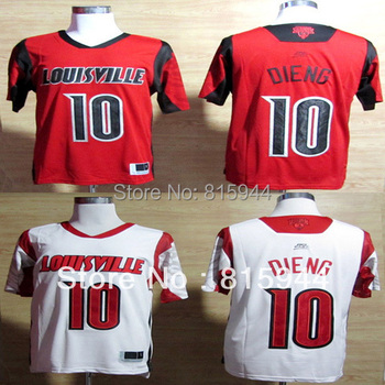College Louisville Cardinals #10 Gorgui Dieng white/ red basketball ncaa jerseys size mix order free shipping