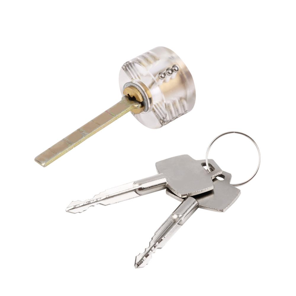 1pc Locksmith Round Cross Visable Practice Padlock Training Tool With 2 Keys Stock Offer<br><br>Aliexpress