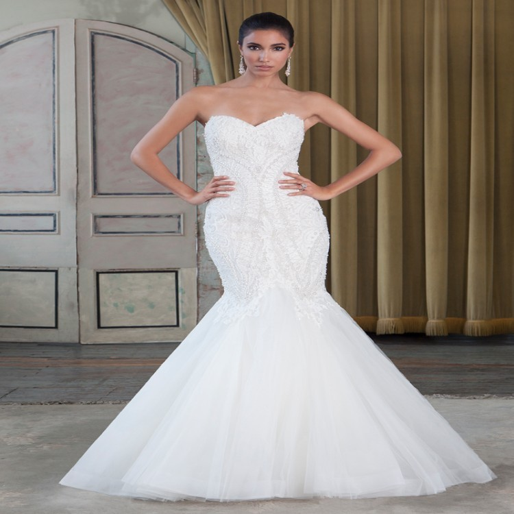 Luxury beading white tulle sexy sweetheart off the for South african wedding dresses