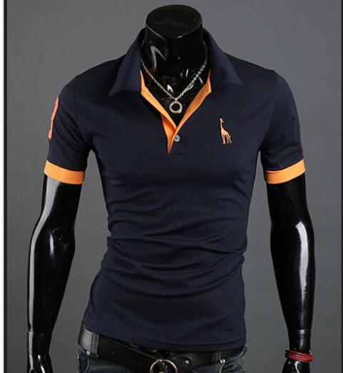 2015 New Arrival Summer Deer Men's Fashion Turn-down Collar Slim Fit Stylish Male Short-sleeve Embroidered Shirt Free Shipping(China (Mainland))