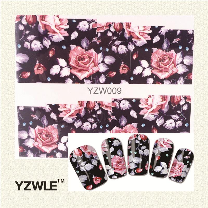 YZWLE 1 Sheet Chic Flower Nail Art Water Decals Transfer Stickers Splendid Water Decals Sticker(YZW-009)(China (Mainland))