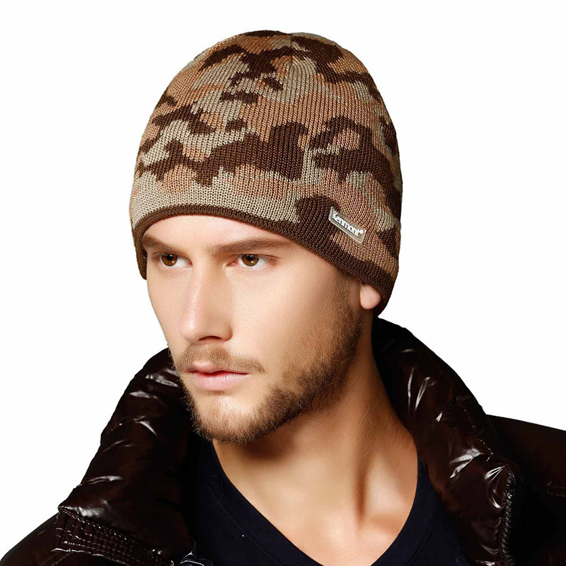 New Unisex Women Men Winter Earflap Camouflage Pattern Ski Outdoor Beanie Caps Wool Knit Hats For Valentines Gift 9002(China (Mainland))