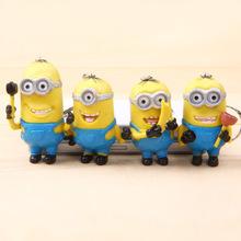 20pcs/lot Despicable Me 2 Keychain movie minion JORGE STEWART DAVE Figure Toys keyring yellow 5-8cm(China (Mainland))