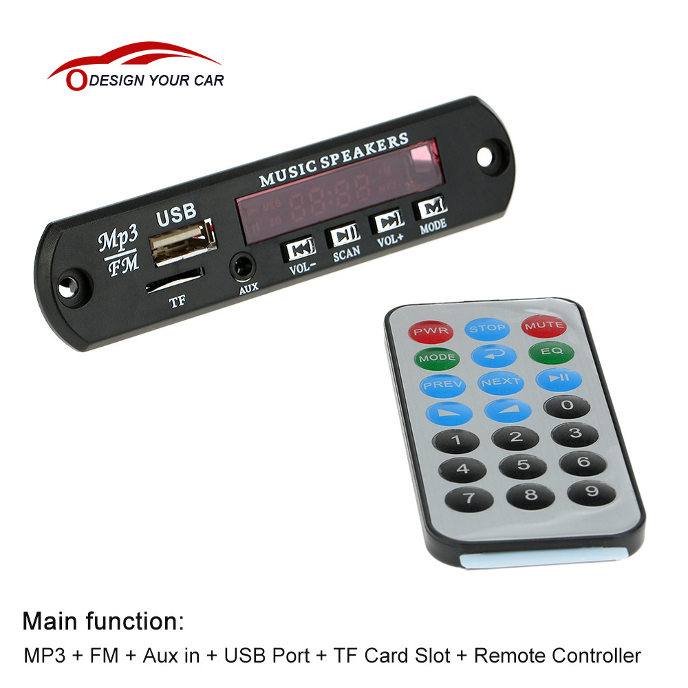 ABS Car Remote Control Music MP3 Decoder Board Audio FM Radio Module with Aux in USB Port TF Card for Cars(China (Mainland))