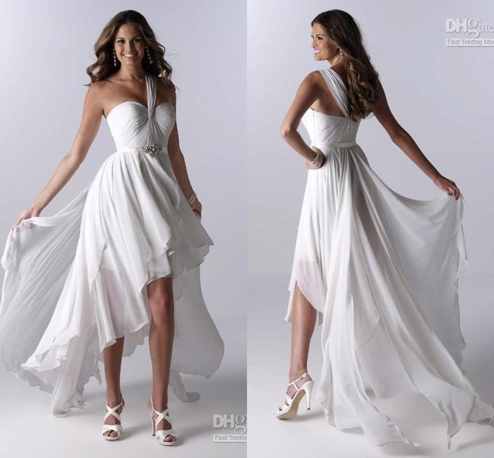 White beach a line hi lo short chiffon wedding dresses for Hi lo hemline wedding dresses