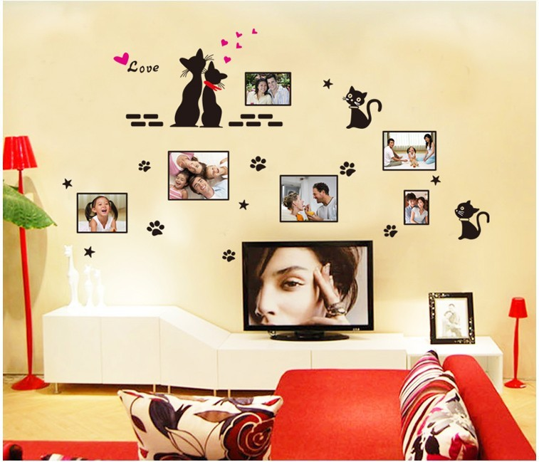 Free Shipping 1Pc black love cats photo frame sticker decals bedroom window background home decor, pvc diy wall stickers ZY7134(China (Mainland))