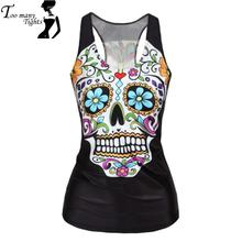 New Style 2015 women Floral sugar skull tank tops adventure time camisole HOT SALE t shirt(China (Mainland))