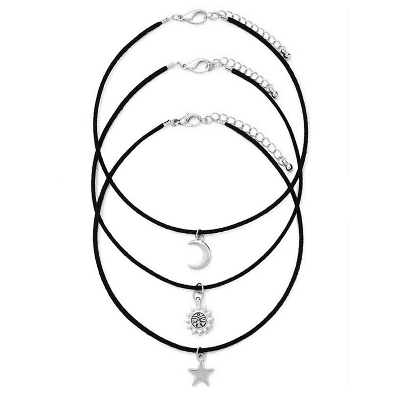 3 Pcs/Set Chokers Necklaces Vintage Star Moon Sun Alloy Pendants Necklace Fabric Cord Gothic Maxi Necklace Sets(China (Mainland))