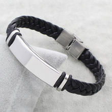 Buy Hot Sale Punk Women Man Simple Steel Color ID Charm Stainless Steel Jewelry Bracelet Black Braid PU Leather Bracelet Bangles for $1.48 in AliExpress store