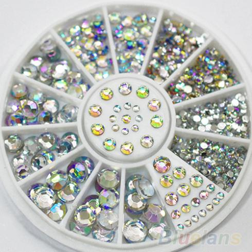 Hot Sale 5 Sizes White Multicolor Acrylic Nail Art Decoration Glitter Rhinestones stickers 02YR<br><br>Aliexpress
