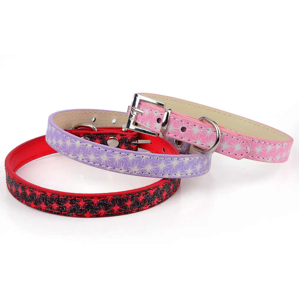 1PCS Small Dog Collars Cat Puppy Collar Pet Cute PU Leather Animal Pet Accessories For Small Dogs Collar Perro Mascotas Pink(China (Mainland))