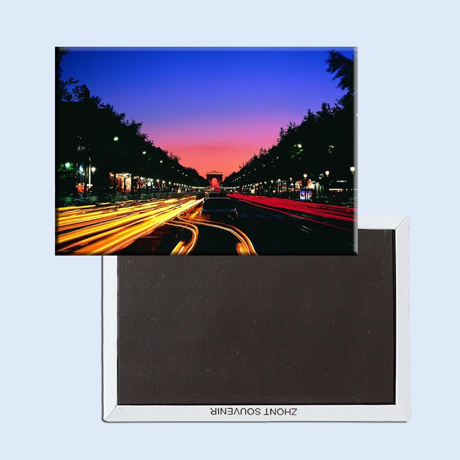 Metal Wrapped Magnets Free Shipping,Paris Champs elysees Night View Landscape Fridge Magnet 5502 Tourism Souvenir(China (Mainland))