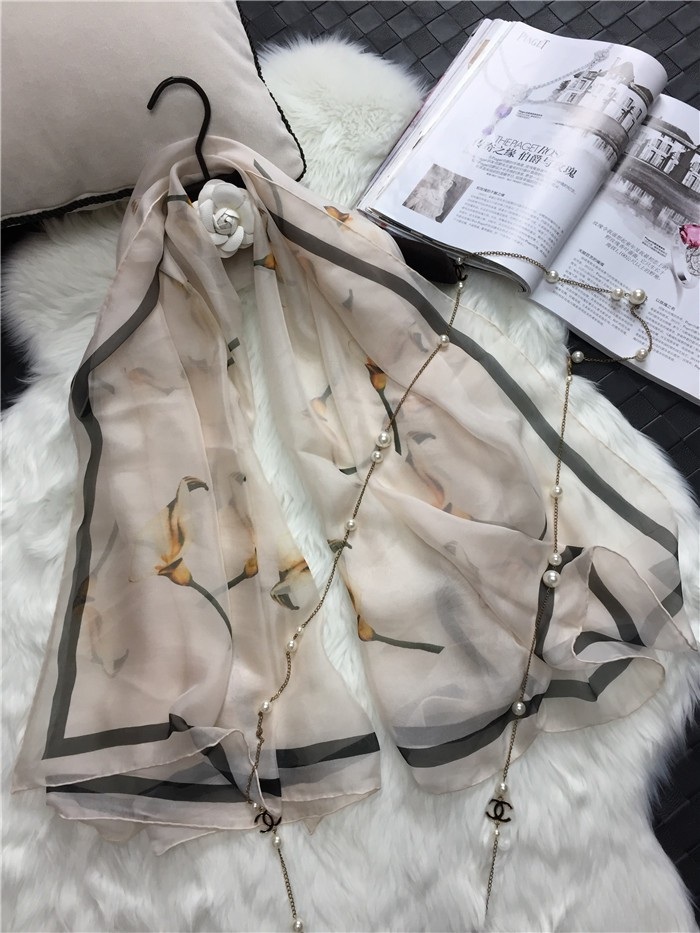 """Woman's Silk Scarf Length 53"""" 135cm Shawl Calla Lily Flower Printing Pattern Occident Scarf Autumn and Winter Hot Sale DG16915"""