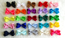 """100pcs/lot 3"""" Grosgrain Ribbon Hair Bows with Clips FOR Headband,Baby Boutique HairBows Hairclips DIY Girls' Hair Accessories(China (Mainland))"""