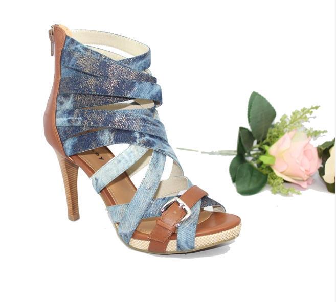 Amazing 2015 European Womens Botas CutOut Blue Denim Boots For Women Open Toe