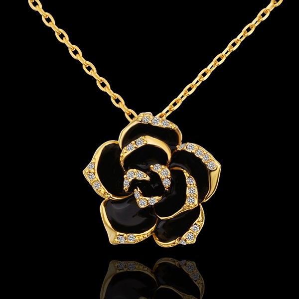 18K Yellow Gold plated fashion jewelry Austria Crystal,rhinestone,CZ diamond,Nickle Free pendant necklace KN613 - fei shao's store