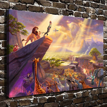 H1215 Thomas Kinkade The Lion King, HD Canvas Print Home decoration Living Room bedroom Wall pictures Art painting
