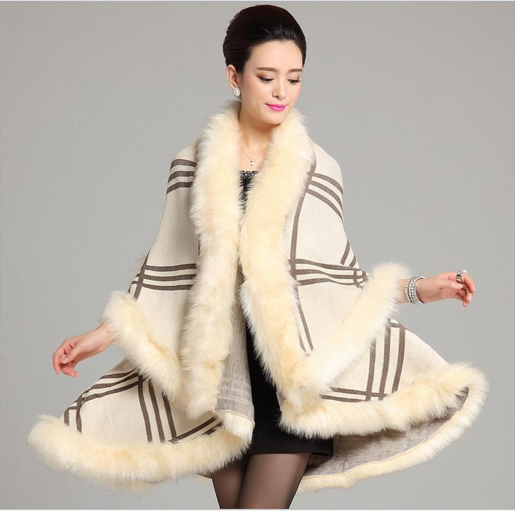Wraps Scarves Coats Faux fur 2016 new European style fashion long section double-Plaid knit cardigan shawl cape free shipping(China (Mainland))