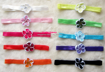 Free Shipping 10pcs Mini Round Flower Children Kids Baby Girl Headband Hairbow Hair Band Hairwear Hair Ornaments Accessories