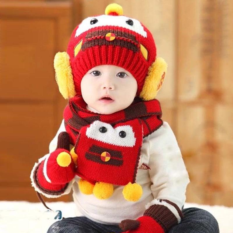 2016 Coche Niños Niñas Niños Invierno Cálido Sombreros de La Bufanda de la Gorrita Tejida Tapas