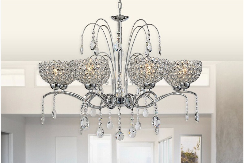 Modern hanging crystal chandelier luxury foyer chandeliers for Modern crystal chandelier for dining room
