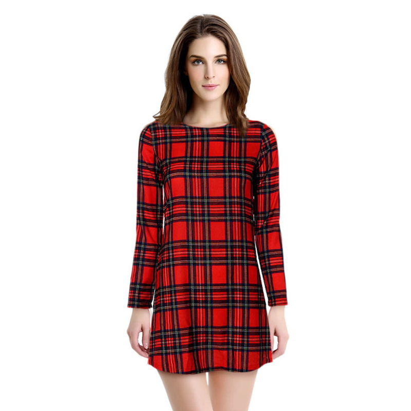 Plaid Women Dress Fashion Women Dress 2016 Classic Red Plaid Rivet Decoration O-Neck Long-Sleeve Slim Casual Dress TY72(China (Mainland))