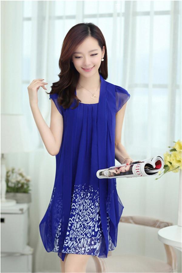 New summer style women dress large size womens chiffon dresses loose print summer dresses M-5XL 8Color(China (Mainland))